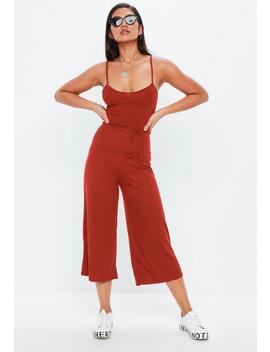 Rust Ribbed Culotte Jumpsuit by Missguided