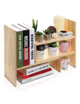Desktop Shelves Bookshelf Desk Organizer Adjustable Countertop Bookcase Diy Table Storage Accessories Display Shelf Rack For Office, Home Décor, Kitchen, Books, Cosmetics, Makeup, Flowers, Plant by Yesurprise