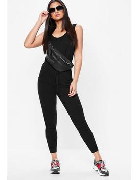 Black Sleeveless Jersey Jumpsuit by Missguided