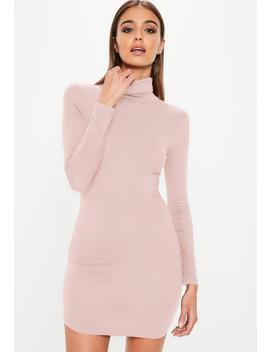 Pink Long Sleeve Curve Hem Roll Neck Bodycon Dress by Missguided