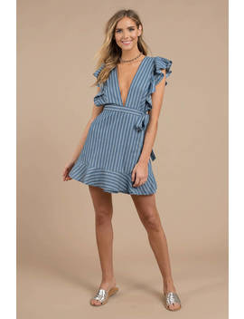 Rosalie Blue Stripe Chambray Wrap Dress by Tobi