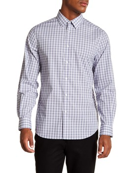 Checked Slim Fit Long Sleeve Woven Shirt by Perry Ellis