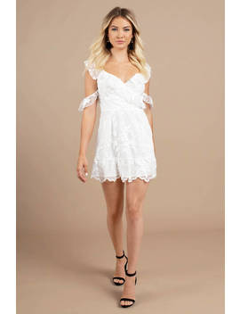Love Elixir White Ruffle Wrap Dress by Tobi