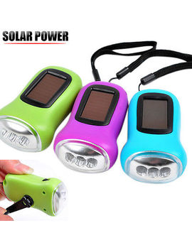 Solar Power Rechargeable Led Hand Crank Dynamo+ For Carabiner Camping Flashlight by Unbranded