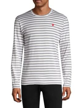 Small Heart Stripe Long Sleeve Tee by Comme Des Garcons Play