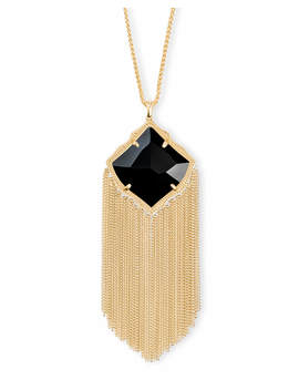 Kingston Gold Long Pendant Necklace In Black Opaque Glass by Kendra Scott