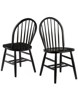 Winsome Wood Windsor Chair In Black Finish, Set Of 2 + Handi Wipes by Winsome Wood..