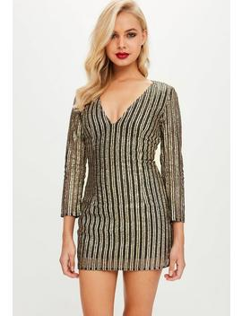 Petite Gold Plunge Dress by Missguided