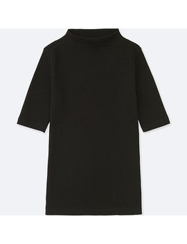 Damen Geripptes T Shirt (Stehkragen) by Uniqlo
