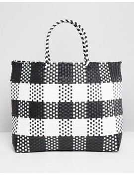 Warehouse Shopper Bag In Check by Warehouse
