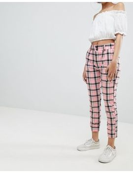Bershka Checked Pants In Pink Check by Bershka