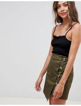 Asos Design Asymmetric Wrap Mini Skirt With Button Front by Asos Design