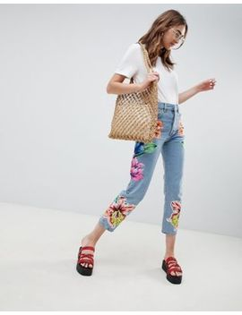 Asos Design Rigid Straight Leg Jeans In Cambridge Wash With Floral Patching by Asos Design
