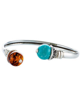 Be Jewelled Amazonite And Amber Open Cuff, Cognac/Cyan Green by Be Jewelled