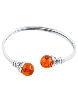 Be Jewelled Flexible Sterling Silver Torque, Amber by Be Jewelled
