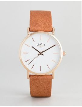 Limit Tan Faux Leather Watch With Bark Effect Exclusive To Asos by Limit