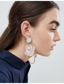 Asos Design Earrings In Abstract Open Shape Design With Pearl And Resin In Gold by Asos Design