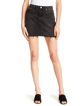 Stud Detail Frayed Denim Skirt by Blanknyc