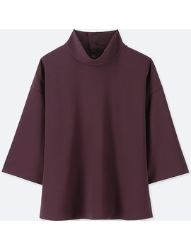 Damen Drape Bluse (3/4 Arm) by Uniqlo