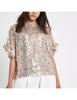 Cream Sequin Embellished Frill Sleeve Top by River Island