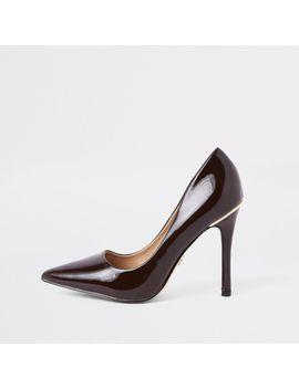 Dark Brown Patent Stiletto Heel Court Shoes by River Island