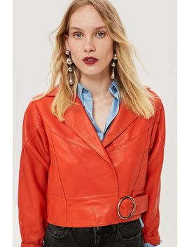 Red Leather Cropped Jacket by Topshop