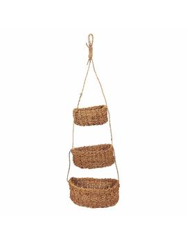 Set Of 3 Hanging Pot Holders   Decorative Seagrass Hanging Baskets, Wall Hanging Baskets For Outdoor, Indoor Plant Display, Brown   Hanging Size 24.5 Inches by Juvale