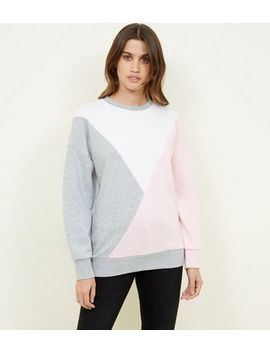 Pink Diagonal Colour Block Sweatshirt by New Look