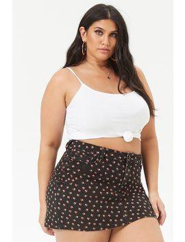 Plus Size Rose Print Denim Mini Skirt by Forever 21