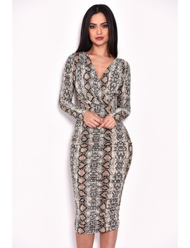 Ruched Snakeskin Slinky Wrap Dress by Ax Paris