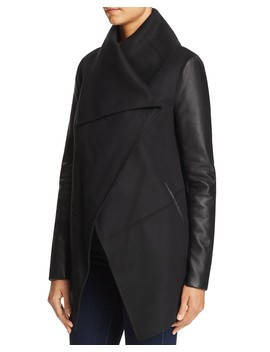 Vane Draped Wrap Leather Sleeve Coat   100 Percents Exclusive by Mackage