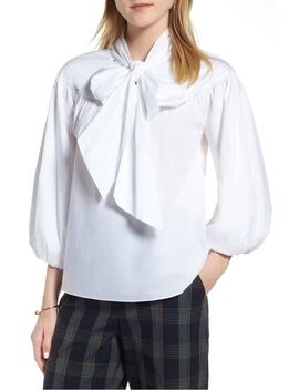 Balloon Sleeve Bow Neck Blouse by 1901