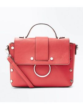 Red Circle Round Metal Embellished Cross Body Bag by New Look