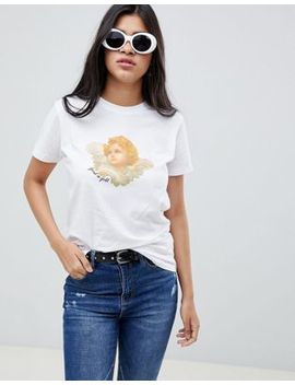Asos Design T Shirt With Good As Gold Angel Iconography Print by Asos Design