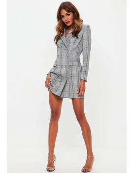 Grey Hertitage Check Blazer Dress by Missguided