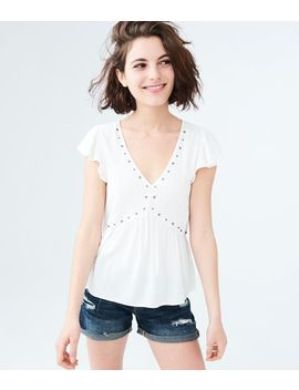 Solid Grommet V Neck Top by Aeropostale