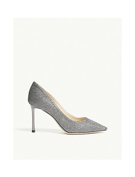 Romy 85 Anthracite Lamé Glitter Heeled Pumps by Jimmy Choo