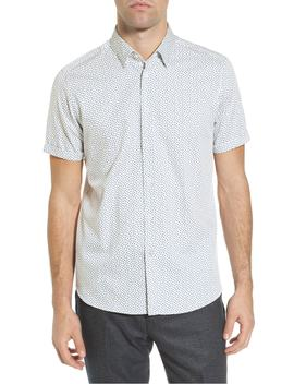 Narnar Trim Fit Geo Print Camp Shirt by Ted Baker London