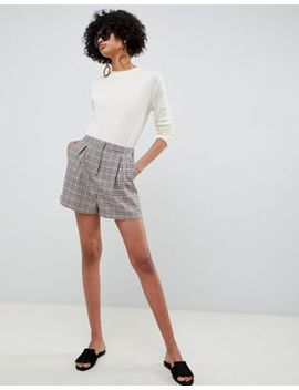 Asos Design High Waist Shorts In Check by Asos Design