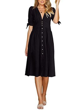 Fanew Women's Party Casual Deep V Neck Half Sleeve High Waist Button Down A Line Swing Midi Dress by Fanew