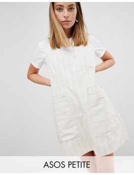 Asos Design Petite Casual Shift Mini Dress In Natural Stripe by Asos Design