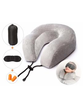 Ultra Comfortable Travel Pillow With Memory Foam And Soft Cover, Plus Travel Accessories: Sleep Mask, Ear Plug, And Carry Bag by Saireider