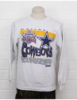 Vintage 1990s Dallas Cowboys Super Bowl Xxvii Nfc Champions 1992 Grey Crew Neck Size Large Sweatshirt by Etsy