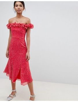 Keepsake Ruffle Bardot Midi Dress In Polkadot by Keepsake