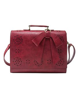 """Ecosusi Ladies Pu Leather Laptop Bag Briefcase Crossbody Messenger Bags Satchel Purse Fit 14"""" Laptop, Red by Ecosusi"""