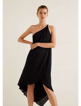 Asymmetric Neckline Dress by Mango