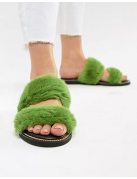 River Island Double Strap Faux Fur Sliders by River Island
