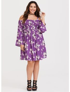 Berry Floral Cold Shoulder Challis Dress by Torrid