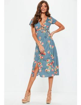 Blue Floral Split Midi Dress by Missguided