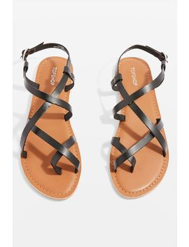 Black Hiccup Strappy Sandals by Topshop